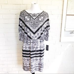 NWT Style & Co black and white waist tie dress